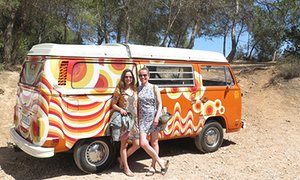 Jane and Vicky with their campervan Pucci.