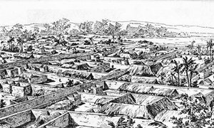 A drawing of Benin City made by a British officer in 1897.