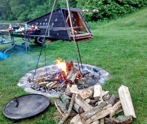 A firepit gives a cosy 'hygge' feeling.
