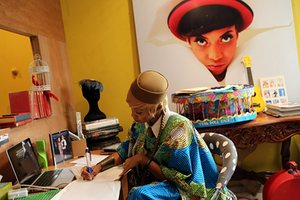 Another side of Lagos … Nigeria's music scene is booming. Here, singer Temi Dollface works in her studio.