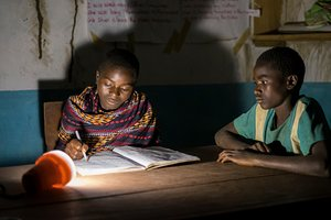 Studying at the library of Gumbi, Malawi.