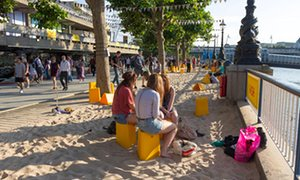 Artificial Beach next to The National Theatre, Southbank, London