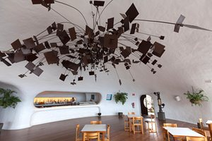 Interior of the cafe-bar Mirador del Río showing its bar area and, in front, <a href=