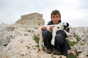 Syrian shepherd boy at Mushabbak near Aleppo