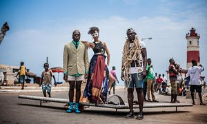 Elisabeth Efua Sutherland, DJ Steloo and Yaw P with their Drone Scrap programme installation at the 2015 Chale Wote Street Art Festival in Jamestown, Ghana.