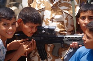 Basra kids with British soldier