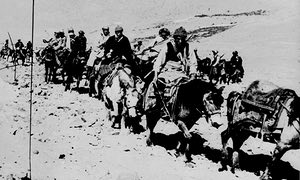 The Dalai Lama and his escape party cross the Zsagola pass, in southern Tibet on 21 March 1959, while being pursued by Chinese military forces, after fleeing Lhasa.