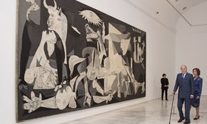 Former king, Juan Carlos, and his wife, Sofia, open the exhibition Pity and Terror, Picasso's Path to Guernica, at Madrid's Reina Sofia Museum.