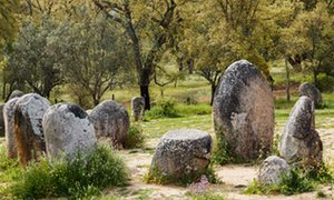 Cromeleque dos Almendres, Portugal.near Evora, Evora District, Alentejo, Portugal. Megalithic site of Cromeleque dos Almendres. A grouping of 95 granite monoliths.