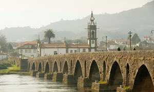 Roman bridge over the Lima river, Ponte de Lima, Minho, Portugal