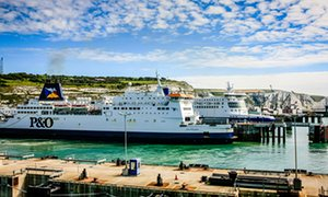 The port of Dover and moored Cross-Channel Ferry boat Dover, Kent
