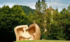 Large Figure In A Shelter, sculpture by Henry Moore in a park in Guernica, Basque country, Spain.
