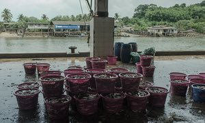 View of Ranong fishing port and fish market, Thailand