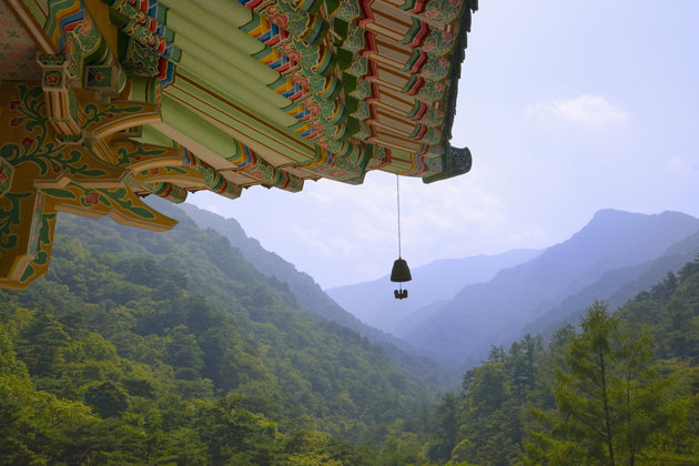 Traditional styled pavilion in Myohyang Mountains, North Korea