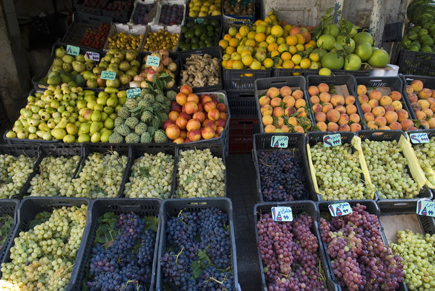 Fruits on sale in shop in Beirut Lebanon Middle East