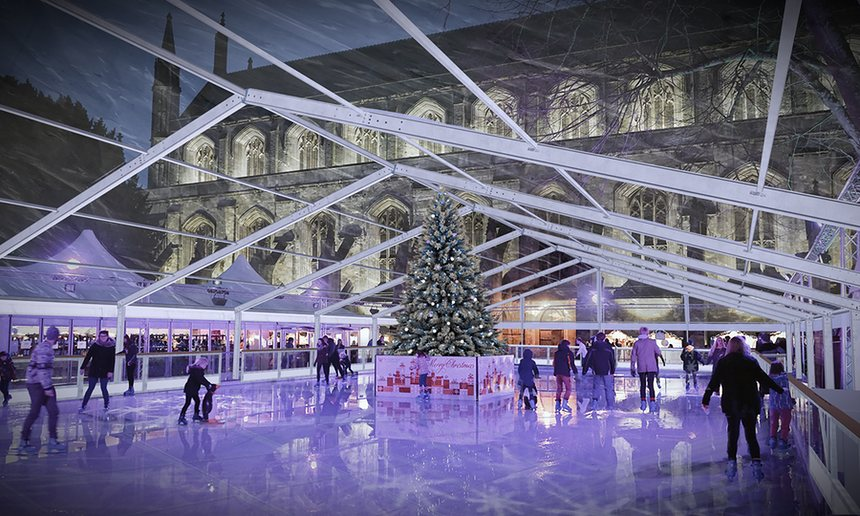 Ice skating, Winchester Cathedral