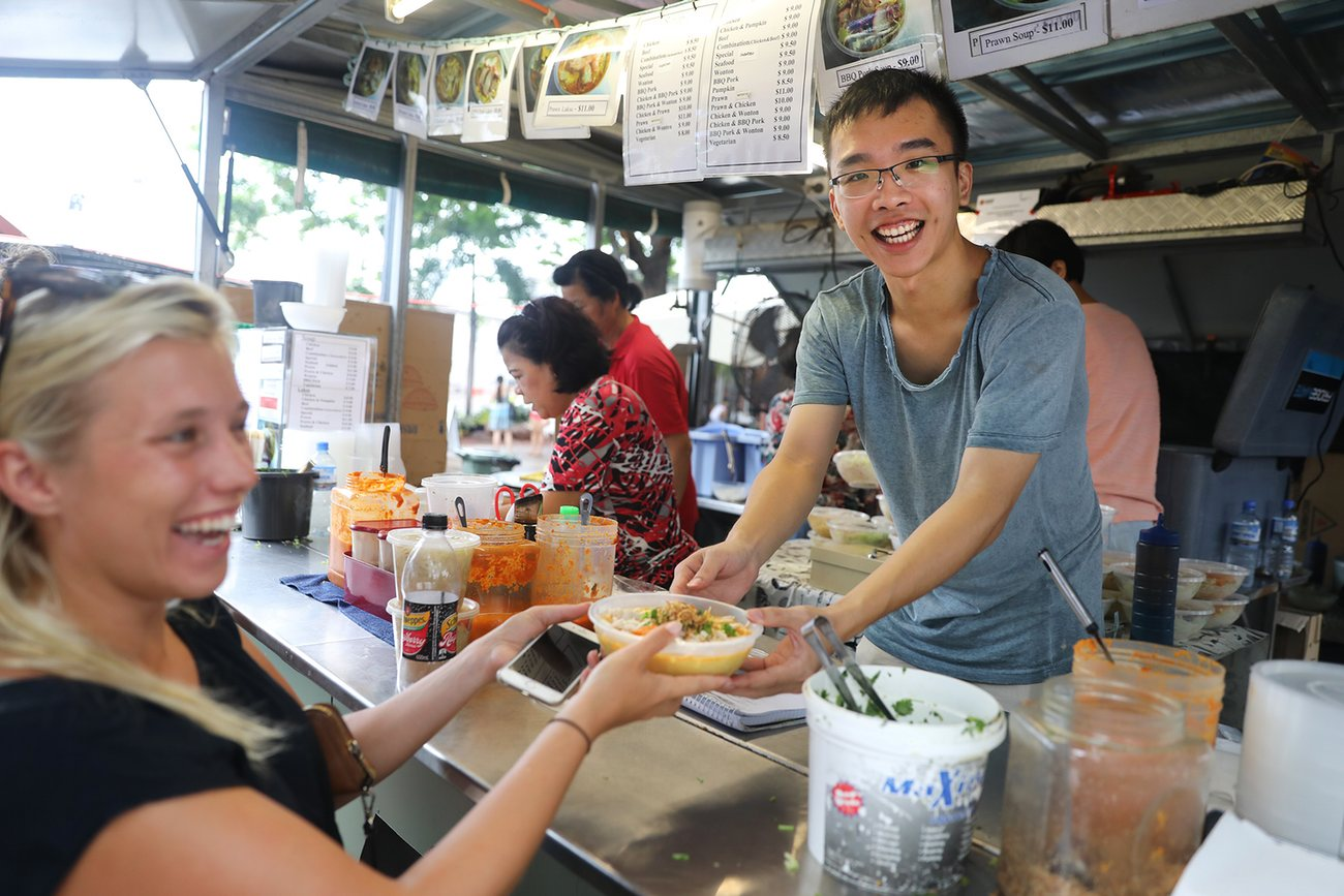 Mary's Laksa van is the most popular eatery at the market.