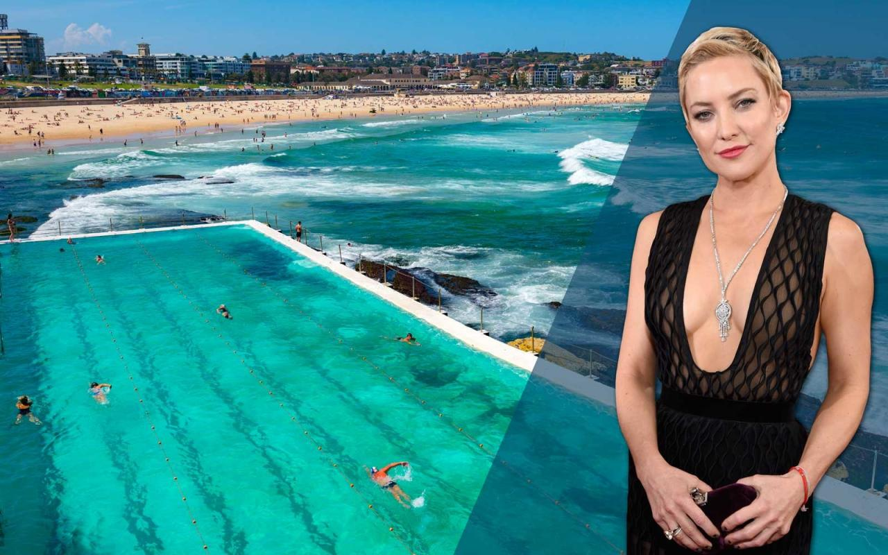 Actress Kate Huson with Bondi Beach, Sydney Australia behind her
